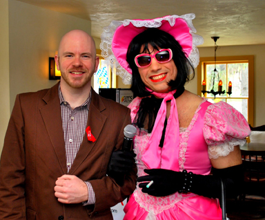 J. Dewey, ARCS' Director of Public Relations, with Trixie Starr, glamorous hostess