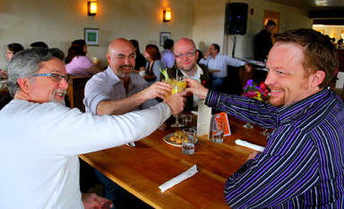 Tim Lawton, Rob Conlon, Todd Michael Thomas, and Michael Hall raise a toast to ARCS.