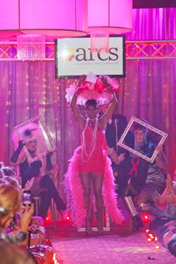 Karen Hicks as Josephine Baker, modeling for A Step Ahead Salon at the 2012 Hairdressers' Disco Ball & Fantasy Hair Show