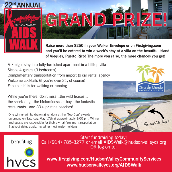 Grand Prize information for the 2014 Hudson Valley AIDS Walk