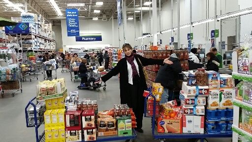 Stocking up at Sam's Club with funds donated by the Junior League of Bronxville