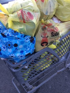An overflowing cart of donated non-perishables from ShopRite in Scarsdale