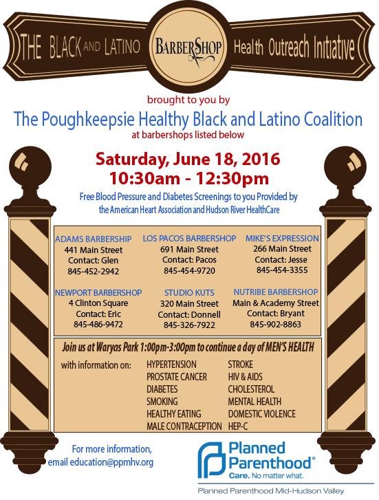 Black and Latino Barber Shop Health Outreach event 6/18/16