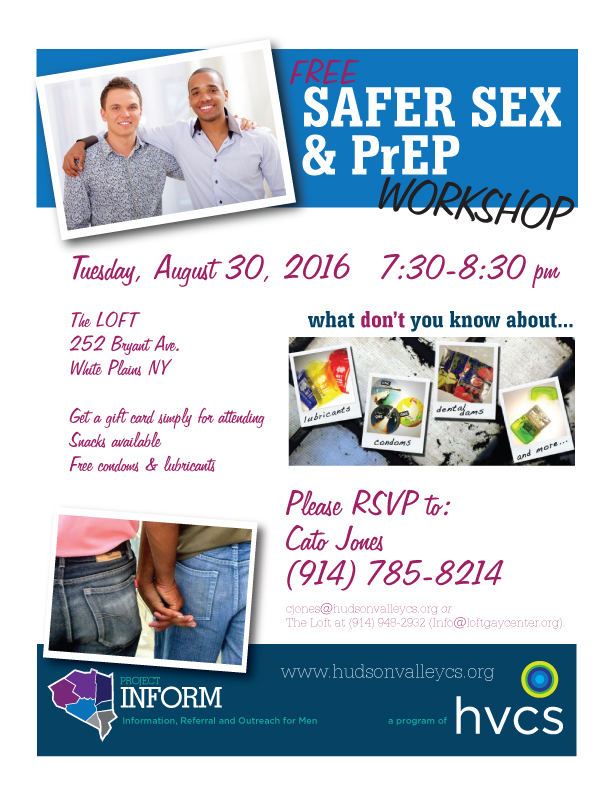 Safer Sex & PrEP Workshop for men at the LOFT, August 30, 2016