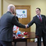 Sen. Carlucci (right) enters our Spring Valley office.
