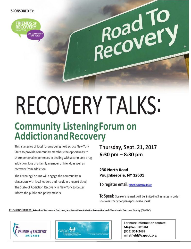 Recovery Talks Listening Forum