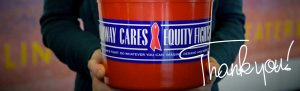 Broadway Cares red bucket