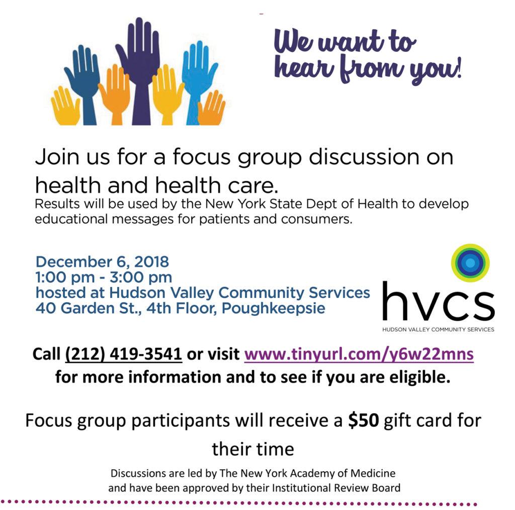 NY Academy of Medicine focus group