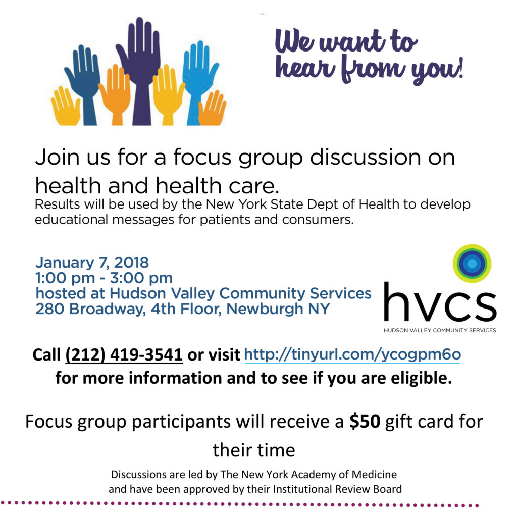 NY Academy of Medicine focus group on January 7, 2019