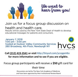 NY Academy of Medicine focus group on January 7, 2019