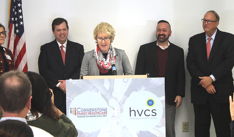 Andrea Straus, HVCS' Executive Director, speaks at the press conference held on Wednesday, February 12, 2020 to announce the intended merger.